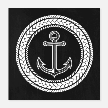 Anchor Anchor circle made of rope white - Poster