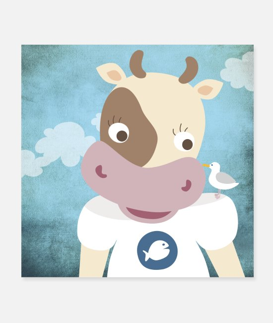 Hello Posters - Poster cow nursery ahoy moin - Posters white