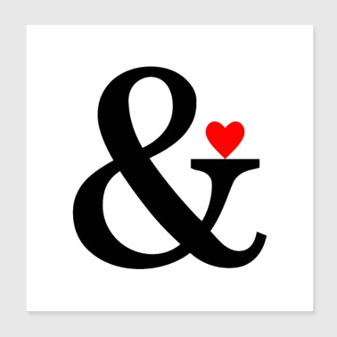 Mariage Ampersand Heart - Et Sign & Love - Poster 20 x 20 cm