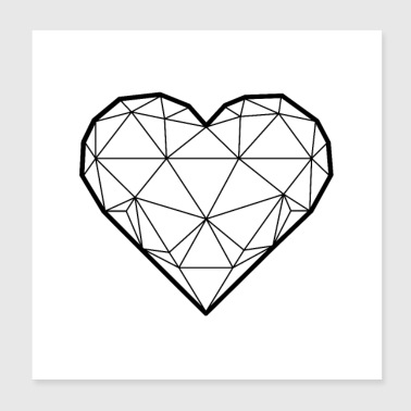 3D heart square - Poster 20x20 cm