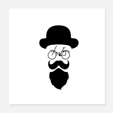 Sir Hipster Cykel Beard Hat - Poster 20x20 cm