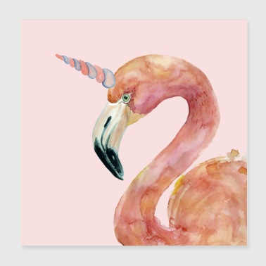 Flamingo yksisarvinen - Juliste 20 x 20 cm
