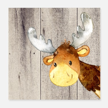 Moose Animal friends in the forest - little moose - Poster 20x20 cm
