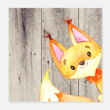 Anime Animal friends in the forest - little fox - Poster 20x20 cm