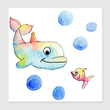 Colorful dolphin and fish - Happy Animals - Poster 20x20 cm