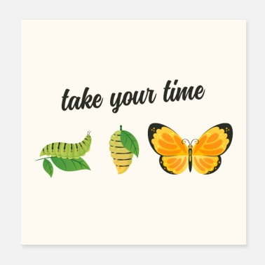 Caterpillar Take Your Time - Butterfly - Poster 20x20 cm