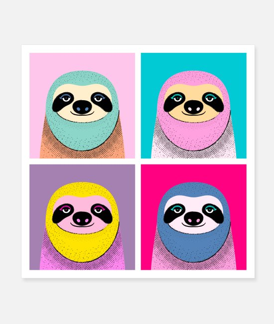 Artist Posters - Pop Art Sloth - Posters white