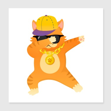 Cool Cat With Gold Chain And Sunglasses - Poster 20x20 cm