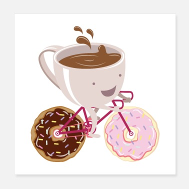 Donut Coffee Cup Donuts Bicycle - Poster