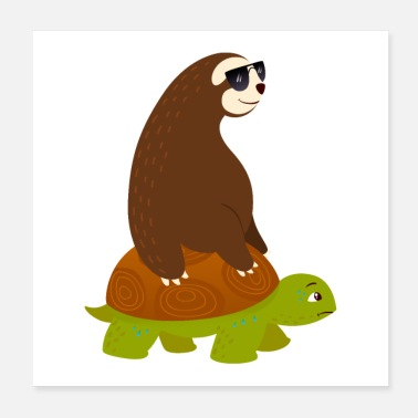 Luiaard Sloth Riding On Turtle - Poster 20x20 cm