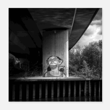 Urban Graffiti Svart Vit Urban Art Bridge Art - Poster 20x20 cm