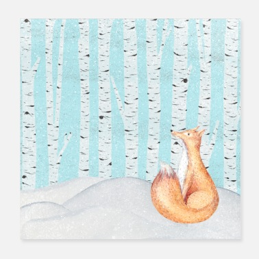 Fox in the winter forest - Poster 20x20 cm