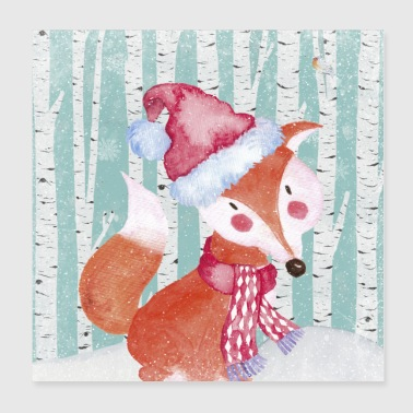 Forest friends in the winter forest - The clever fox - Poster 20x20 cm