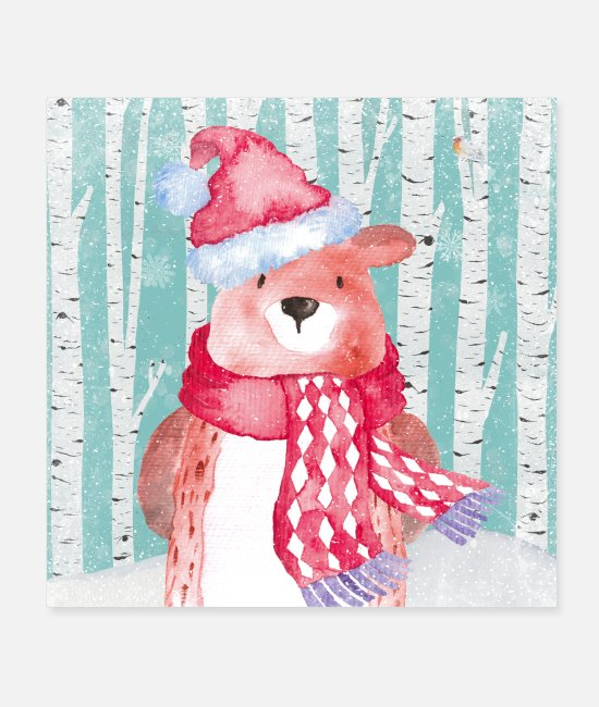 Nature Posters - Forest friends in the winter forest - The cozy bear - Posters white