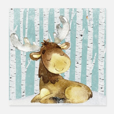 New Baby Forest friends in the winter forest - The little moose - Poster 20x20 cm