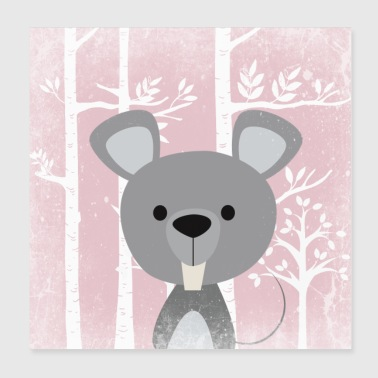 Forest friends in the pink fairytale forest - The cute mouse - Poster 20x20 cm