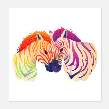 Maleri Zebra Love Couple Akvarel Maleri - Poster