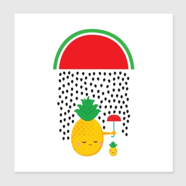 Pineapple Watermelon Rain - Poster 20x20 cm