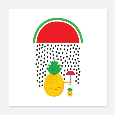 Rain Pineapple Watermelon Rain - Poster 20x20 cm