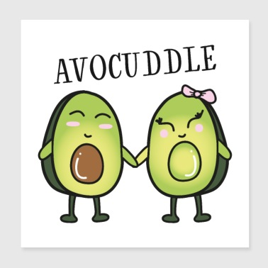Avocuddle - Cool Avocado Love Couple - Poster 20x20 cm