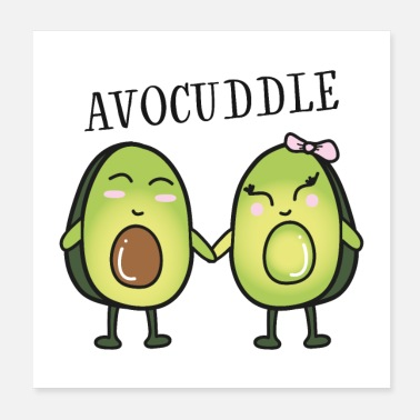 Grassetto Avocuddle - Cool Avocado Love Couple - Poster 20x20 cm