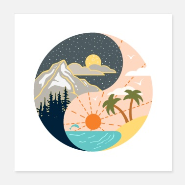 Plage Ying Yang - montagnes - plage - Poster