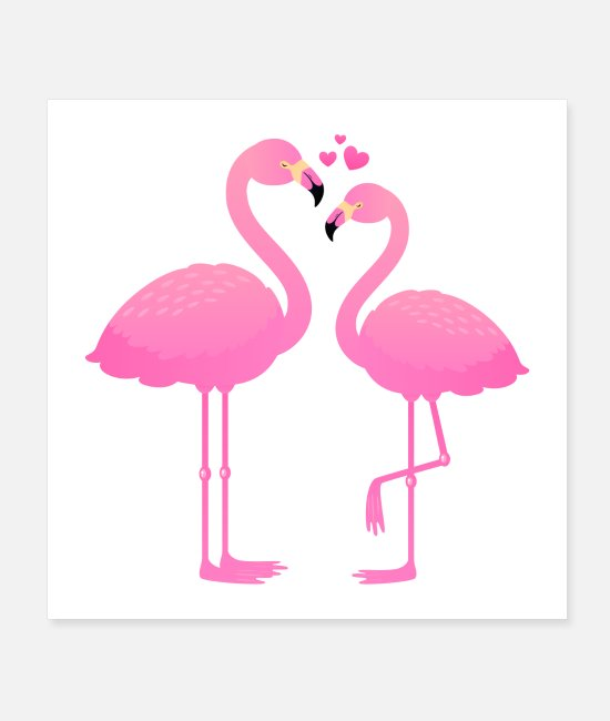 Heart Posters - Flamingo lovers - Posters white