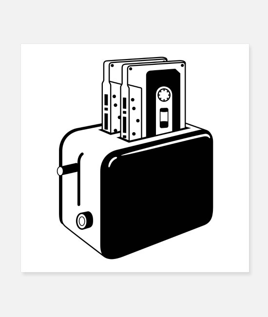 Graphics Posters - Retro cassettes toaster - Posters white