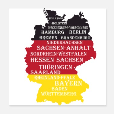 Geographic Federal States Germany flag borders - Poster 20x20 cm