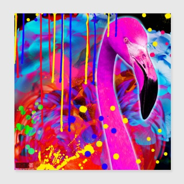 02 Flamingo Poster Color Crash Bird Margarita Art - Poster 20x20 cm
