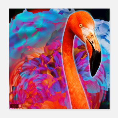 Pretty 01 Flamingo Poster Pink Bird Bird Margarita Art - Poster 20x20 cm