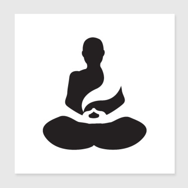 Meditation silhouette - Poster 20x20 cm