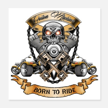 Skull TRIKE KINGS / Skull Motor Born To Ride - Poster
