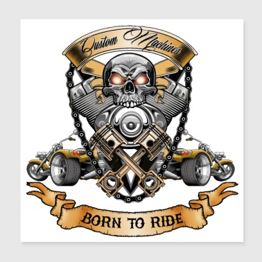 Skull Motor with Trike Born to Ride T-Shirt - Poster 20x20 cm