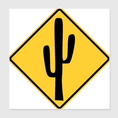 Cactus traffic sign stop - Poster 20x20 cm