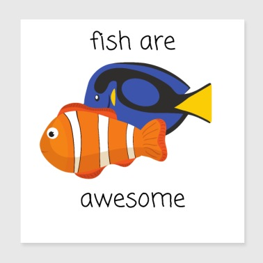 Funny fish cartoon art gift idea - Poster 20x20 cm