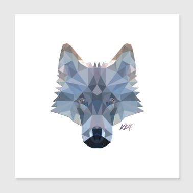 Wolfskop in coole 3D-polystijl - Poster 20x20 cm