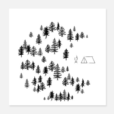 Tent Camp in the woods with campfire and tent - Poster