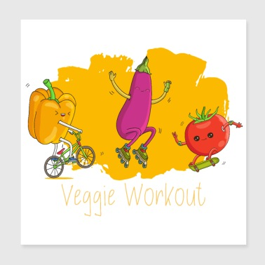 Veggie Fitness Workout - Paprika Aubergine Tomat - Poster 20x20 cm