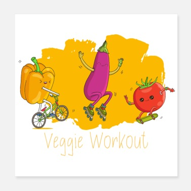 Workout Veggie Fitness Workout - Paprika aubergine tomaat - Poster 20x20 cm