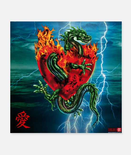 Heart Posters - 06 Dragon Passion Love Heart Poster Margarita Art - Posters white