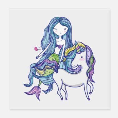 Collection For Kids Unicorn havfrue - Poster 20x20 cm