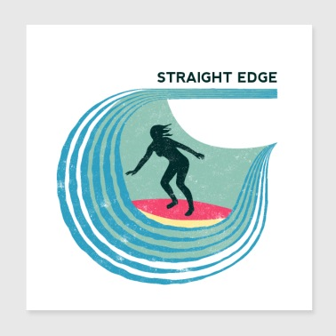 Straight Edge Surfer (vaalea tausta) - Juliste 20 x 20 cm