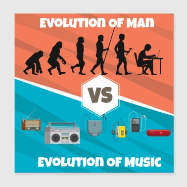 Evolution de la musique Rap HipHop Techno Trance House - Poster 20 x 20 cm
