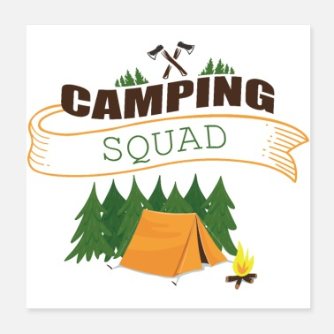Dehors CAMPING SQUAD Équipe Camping - Poster 20 x 20 cm