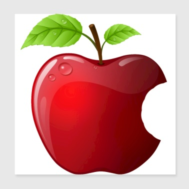 Icon red apple with 2 leaves shiny - Poster 20x20 cm