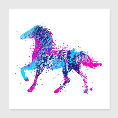 Horse water color pink blue - Poster 20x20 cm