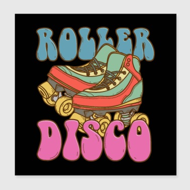 Roller Skates Rouleau Disco Skater Retro Poster - Poster 20 x 20 cm
