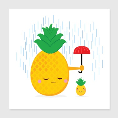 Pineapple In the rain - Poster 20x20 cm