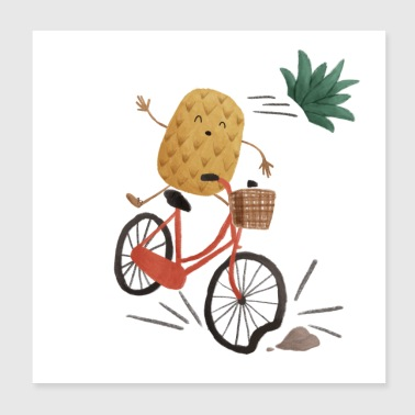 Ananas fiets - Poster 20x20 cm